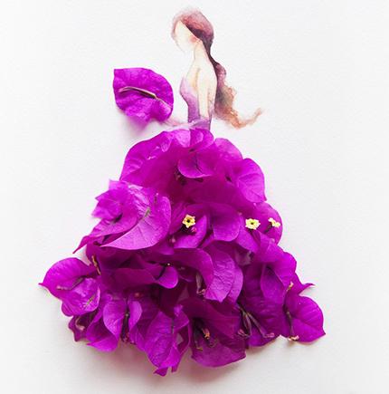 Платья из цветов на акварели Лимзи