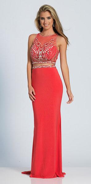 Роскошное раздельное вечернее платье кораллового цвета Dave&Johnny