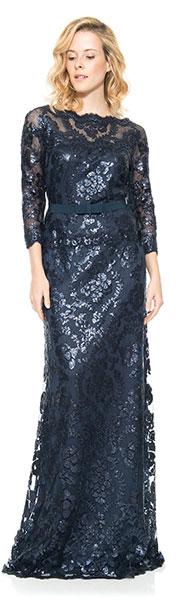 Длинное вечернее платье с рукавами 3/4 Tadashi