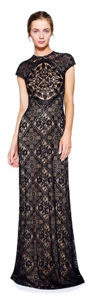 Полупрозрачное черное гипюровое платье Tadashi