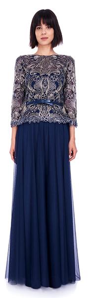 Темно-синее вечернее платье с кружевным верхом Tadashi
