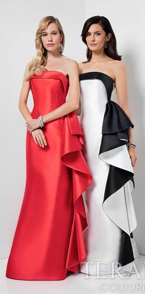 Длинные вечерние платья с воланом Terani Couture