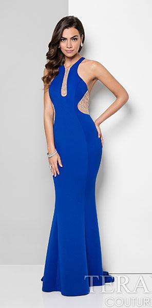 Роскошное синее платье русалка Terani Couture