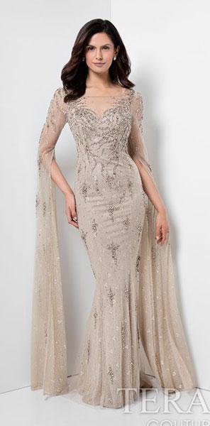 Вечернее платье русалка с растительным орнаментом Terani Couture