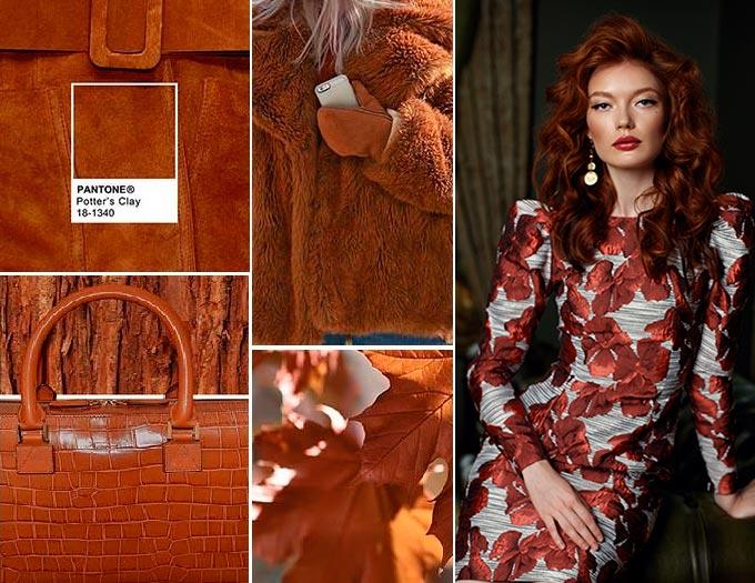 Цветовая палитра платьев Potters Clay 18-1340 в салоне платьев GraceEvening