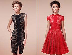 Коктейльные кружевные платья