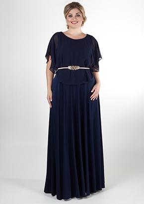 45a9d733ea1 Темно-синее вечернее платье для полных женщин.
