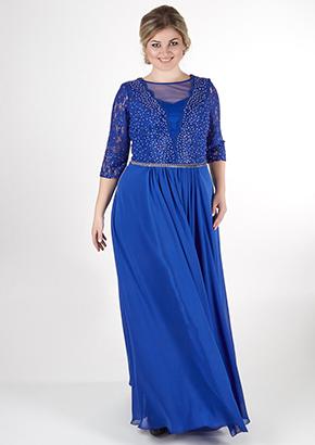 Вечернее платье синего цвета для полных женщин. Салон платьев GraceEvening