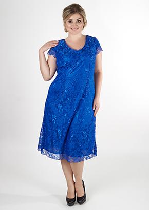 Ажурное синее платье для женщин 40+. Салон GraceEvening