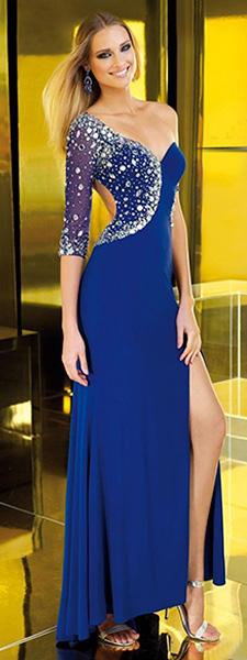 Синее платье на одно плечо Alyce Paris