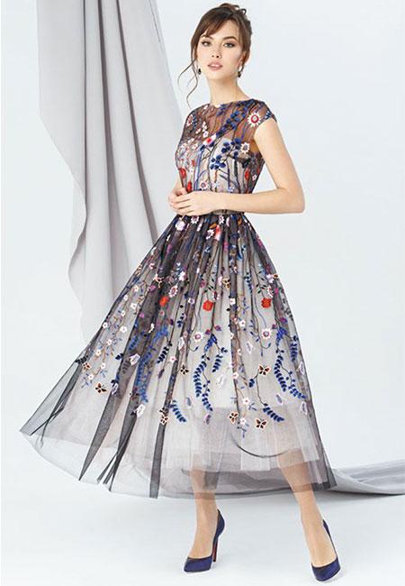 Платье с растительным орнаментом Emse