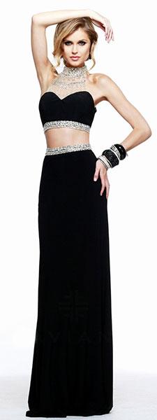 Черное раздельное платье Faviana