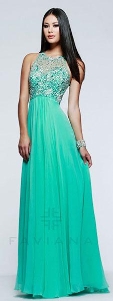 Шифоновое платье с кружевным лифом Faviana