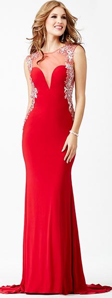 Яркое красное платье со шлейфом Jovani