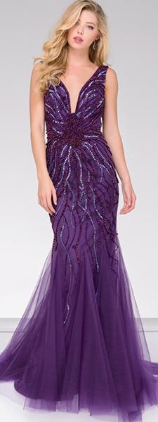 Фиолетовое платье рыбка Jovani