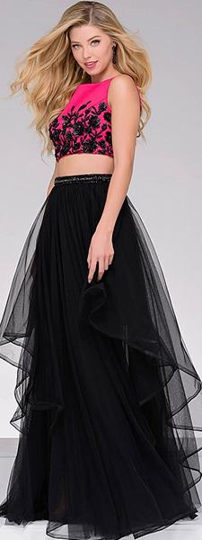 Раздельное платье с малиновым расшитым лифом Jovani