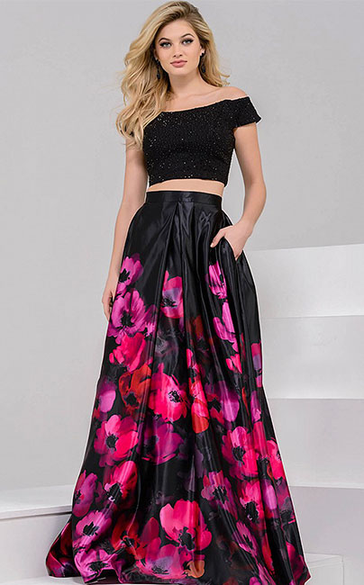 Яркое платье с цветочным принтом Jovani
