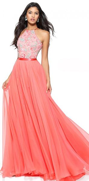 Роскошное платье кораллового цвета Sherri Hill