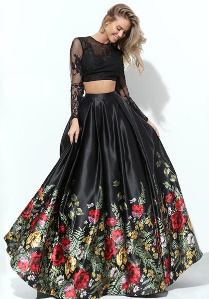 Черное раздельное платье с пышной юбкой Morell Maxie