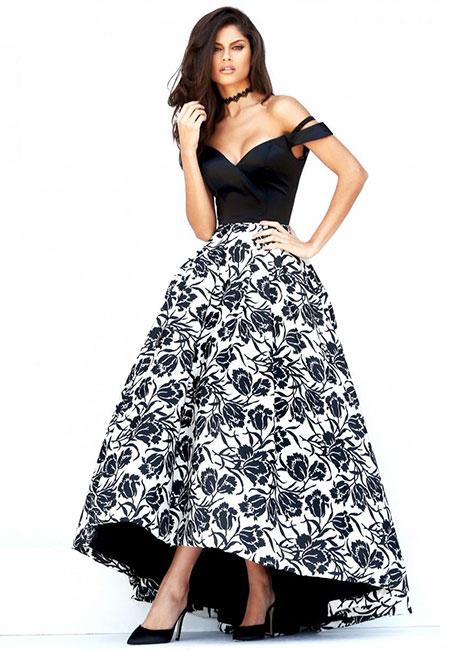 Черно-белое пышное платье Sherri Hill