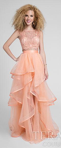 Нежное персиковое платье Terani