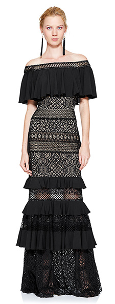 Черное кружевное платье с открытыми плечами Tadashi Shoji