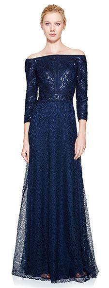 Синее кружевное платье Tadashi Shoji