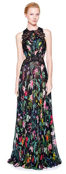 Летнее вечернее платье с растительным принтом Tadashi Shoji