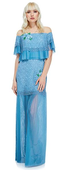 Голубое платье со спущенными плечами Tadashi Shoji
