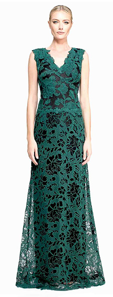 Изумрудное гипюровое платье Tadashi Shoji