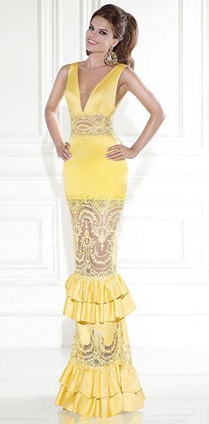 Стильное платье русалка желтого цвета Tarik Ediz
