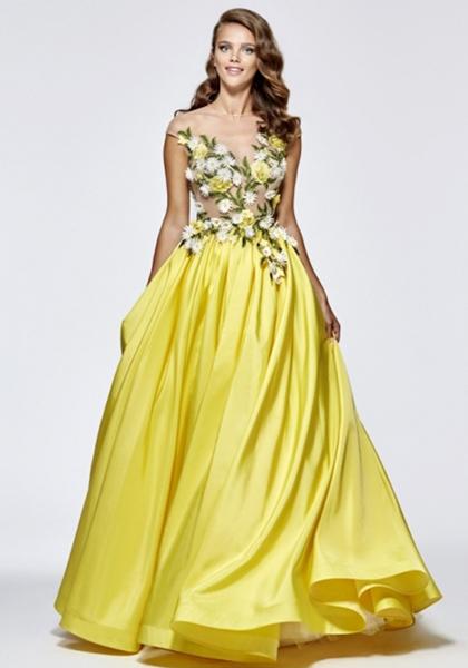 Желтое платье с расшитым лифом Tarik Ediz