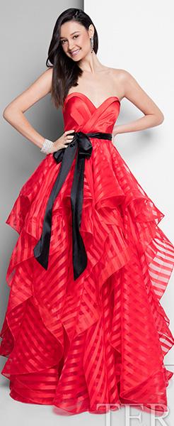 Красное пышное платье Terani