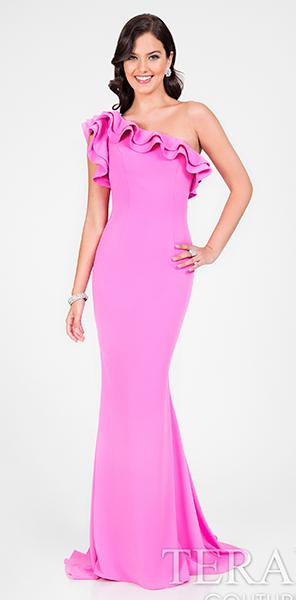 Платье на одно плечо цвета фуксия Terani Couture