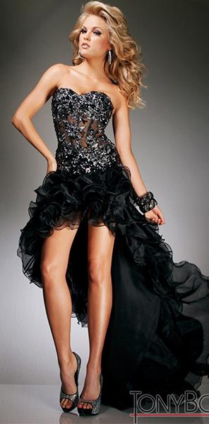 Черное платье с пышной юбкой Tony Bowls