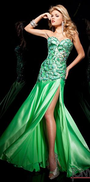 Зеленое платье с оригинальным корсетом Tony Bowls