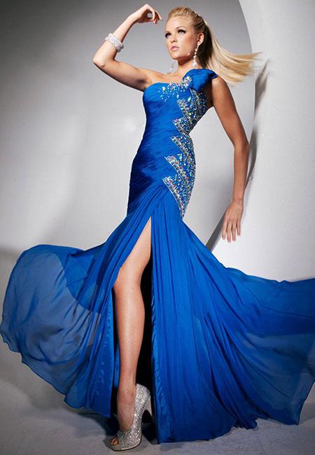 Синее платье на одно плечо Tony Bowls