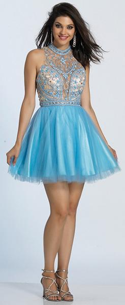 Голубое короткое платье с расшитым лифом Dave Johnny