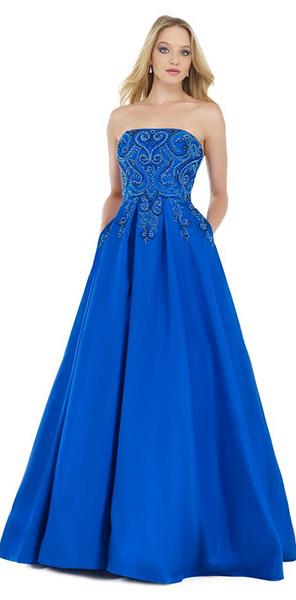 Красивое синее платье а силуэт Morell Maxie
