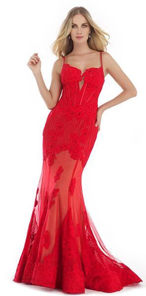 Красное вечернее платье со шлейфом Morell Maxie