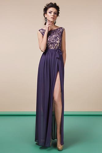 Фиолетовое платье с кружевным лифом