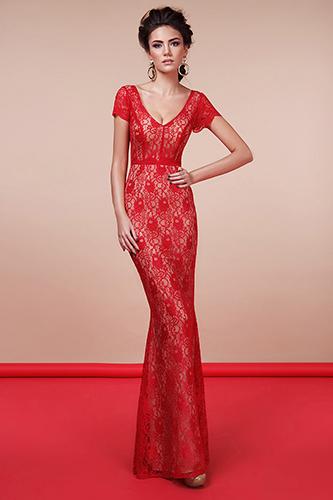 Кружевное красное платье силуэт рыбка