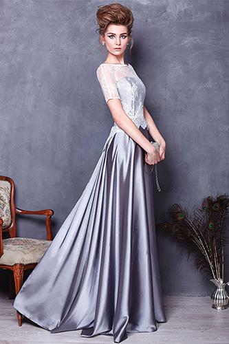 Длинное в пол платье с кружевным верхом