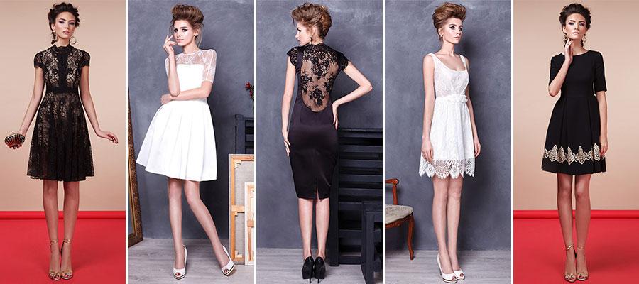 Модные черные и белые коктейльные платья в салоне платьев GraceEvening
