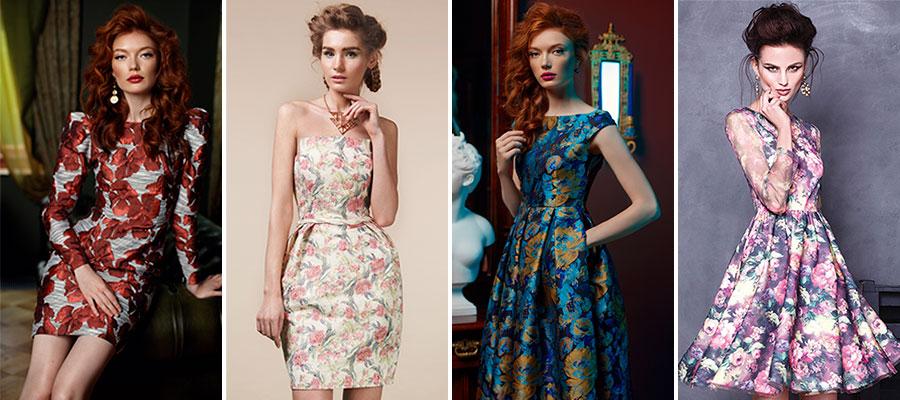 Коктейльные платья с цветочным принтом в салоне GraceEvening. Модные тренды 2017