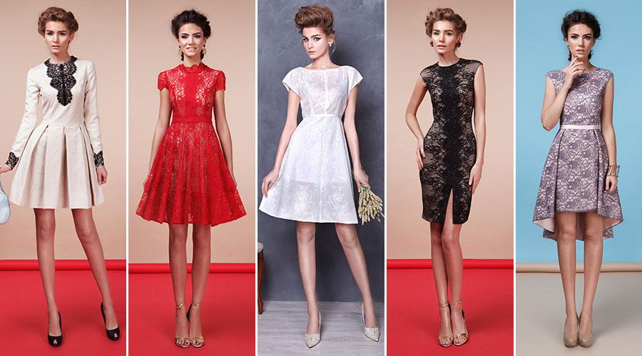 Фото коктейльные кружевные платья в салоне платьев GraceEvening