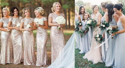 Платья мамы и подружек невесты одинакового фасона и цвета