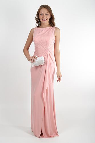 Нежное розовое платье с воланом. Салон GraceEvening