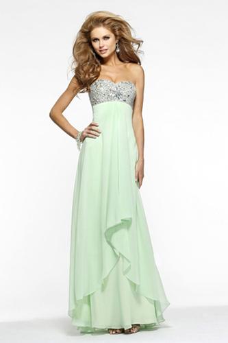 Платье в пол из светло-зеленого шифона. Салон GraceEvening