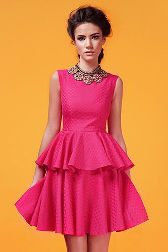 Розовое коктейльное платье с воланами. Салон GraceEvening
